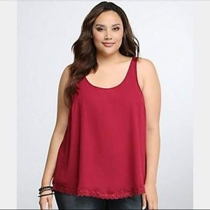 TORRID CRANBERRY/ MAROON LACE TRIM TANK TOP (0)